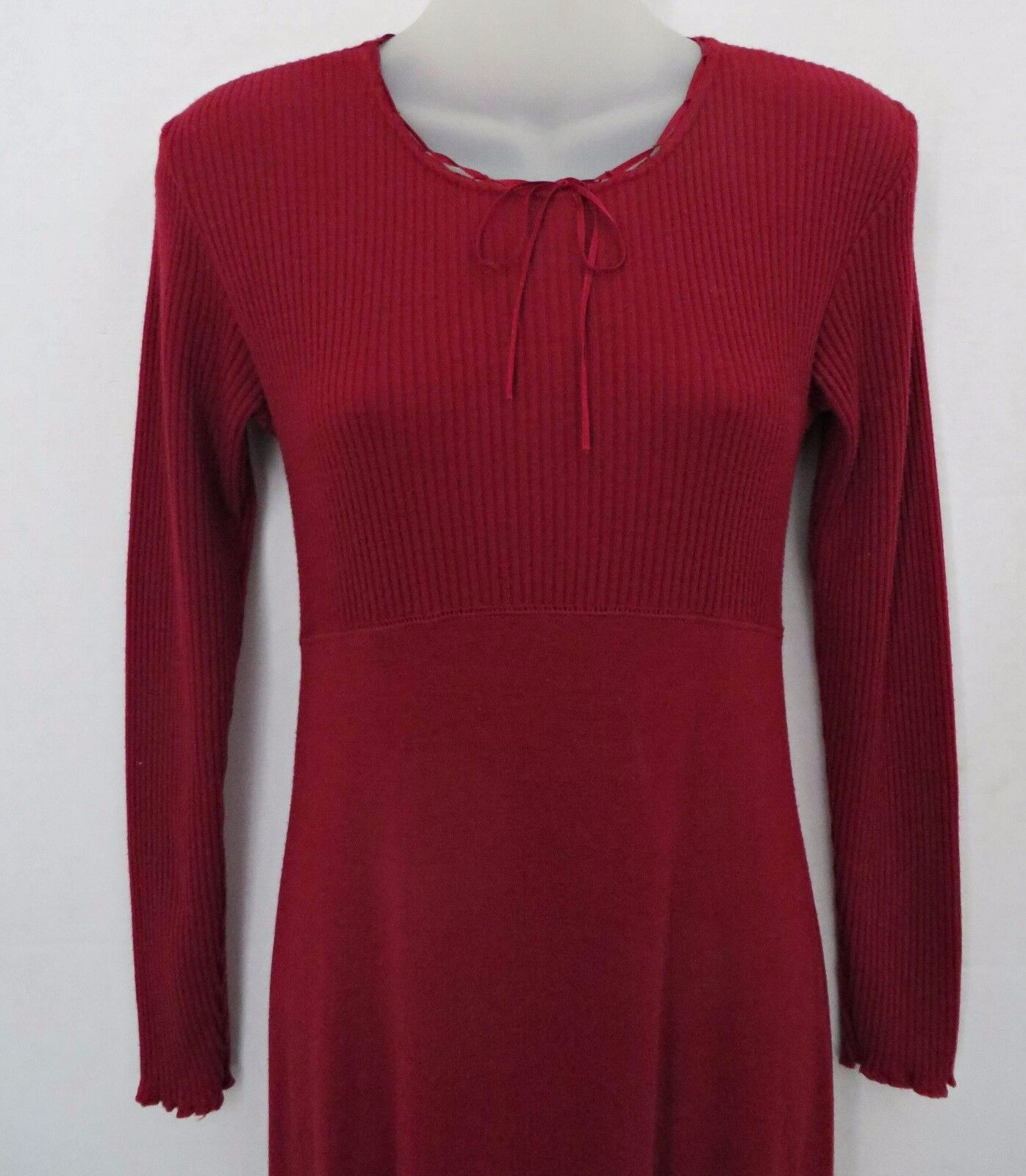 Vtg 1980's LIMITED LONDON PARIS NEW YORK Long Maxi Knit Red Maroon Dress Size XS