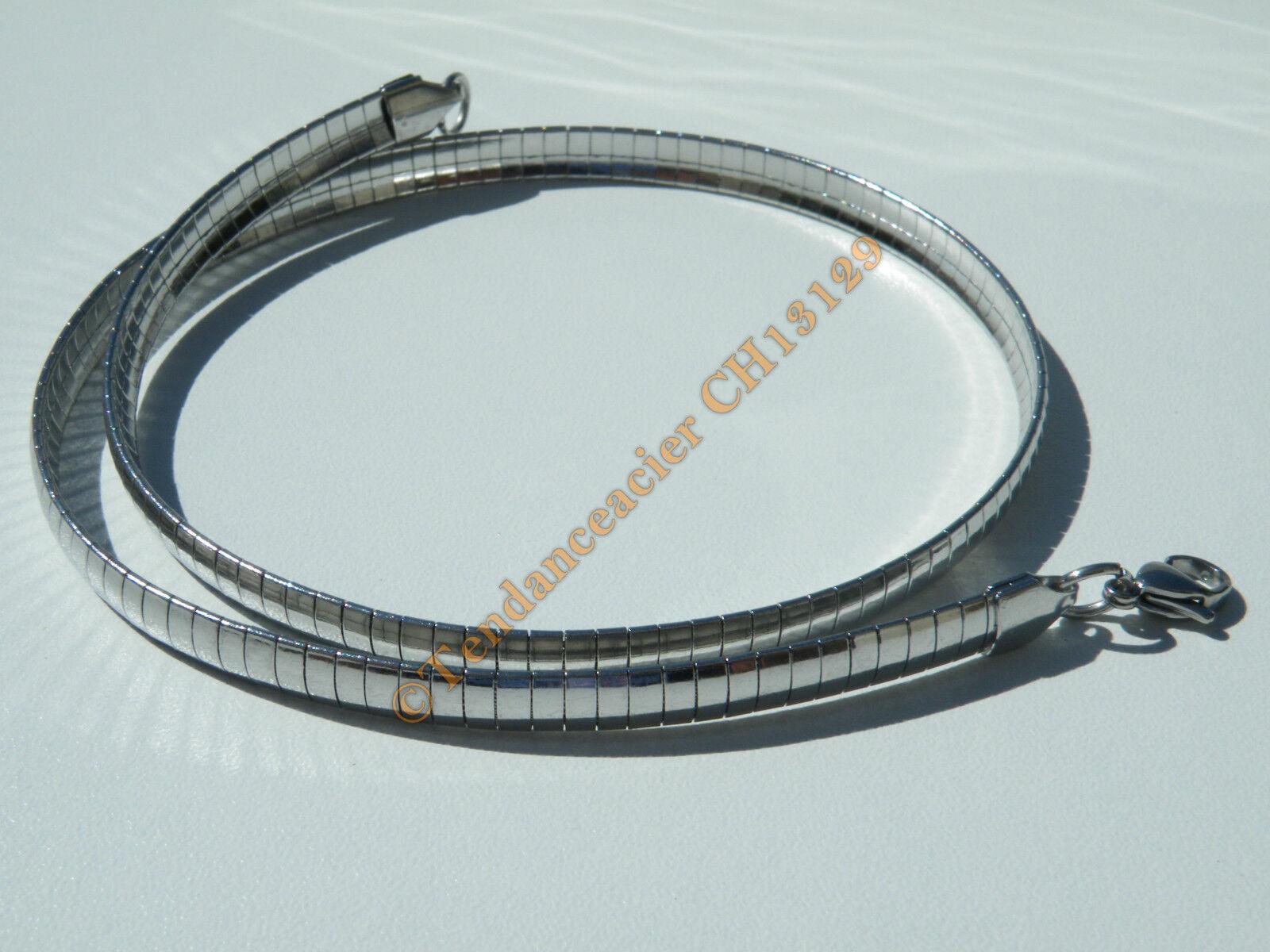 Chaine Collier Ras de Cou 45 cm Maille Serpentine Incurvé silveré Acier 6 mm