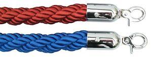1.5m Long Twisted Tressé Natte Barrière Corde Cordes Rouge Bleu Messages Support