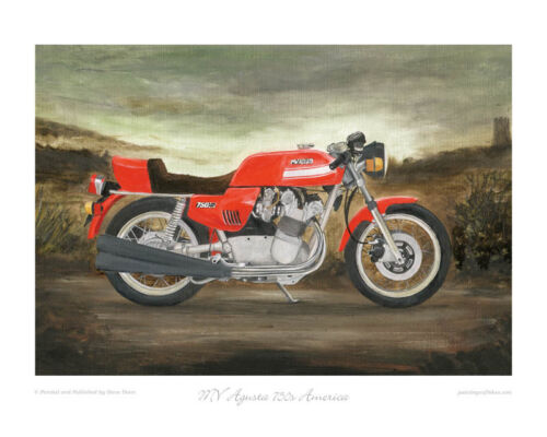 """- Limited Edition Art Print MV Agusta 750s America 1975 of 50 only 20/""""x16/"""""""