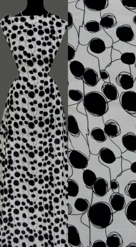 50cm STOFF VISKOSE schwarz Tupfen getupft Muster weiß 13,20 €//m