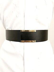 vendita calda online bc8a6 172da Dettagli su Cintura DONNA Vita Alta Stringivita Finta Pelle Nera Oro Su  Misura Personalizza