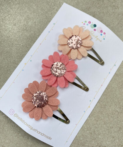 Baby Girl hairclip Barrette Roses Snap Clip Fringe Pigtail Daisy Flower
