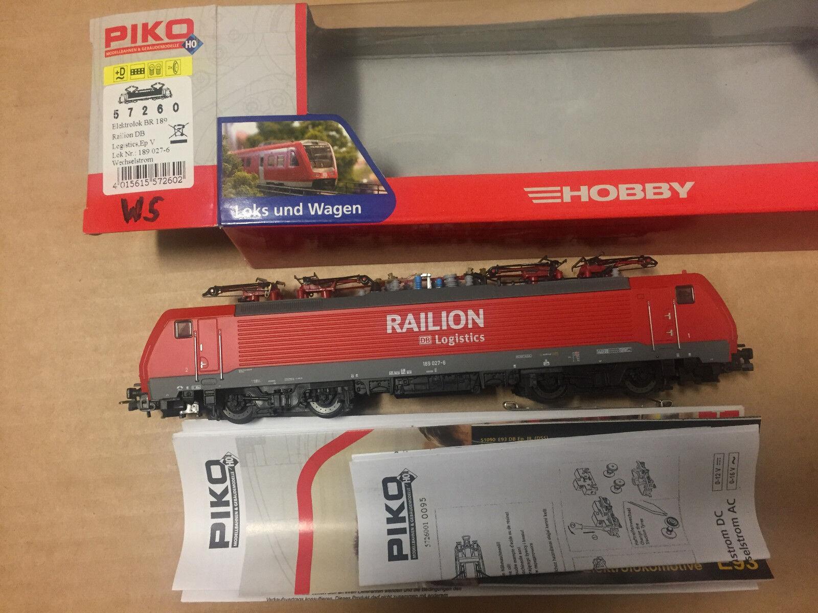 PIKO 57260 h0 E-Lok BR 180 delle DB  RAILION Logistics  per   TOP + OVP