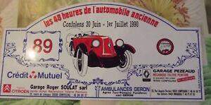Plaque Rallye les 48 H de l'Automobile ancienne Confolens 1990 Renault N°89 - France - État : Occasion : Objet ayant été utilisé. objet présentant quelques marques d'usure superficielle, entirement opérationnel et fonctionnant correctement. Il peut s'agir d'un modle de démonstration ou d'un objet utilisé ayant été retourn - France