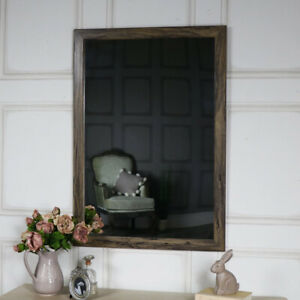 Large Rustic Washed Effect Wall Mounted Mirror Vintage Shabby Chic Bathroom Ebay