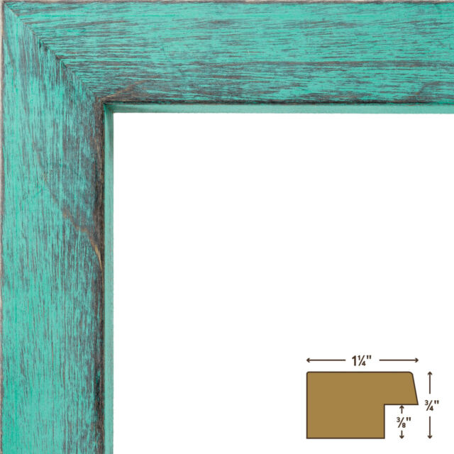 Craig Frames Gesso Turquoise Plain Wooden Picture Frame 11 By 14