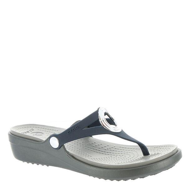 e1e279bd68a4 Crocs Women s W6 6 Sanrah Beveled Circle Sandals Navy Wedge