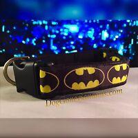 Black & Yellow Batman Dog Collar W/separate Leash Option, Handmade, And Glow