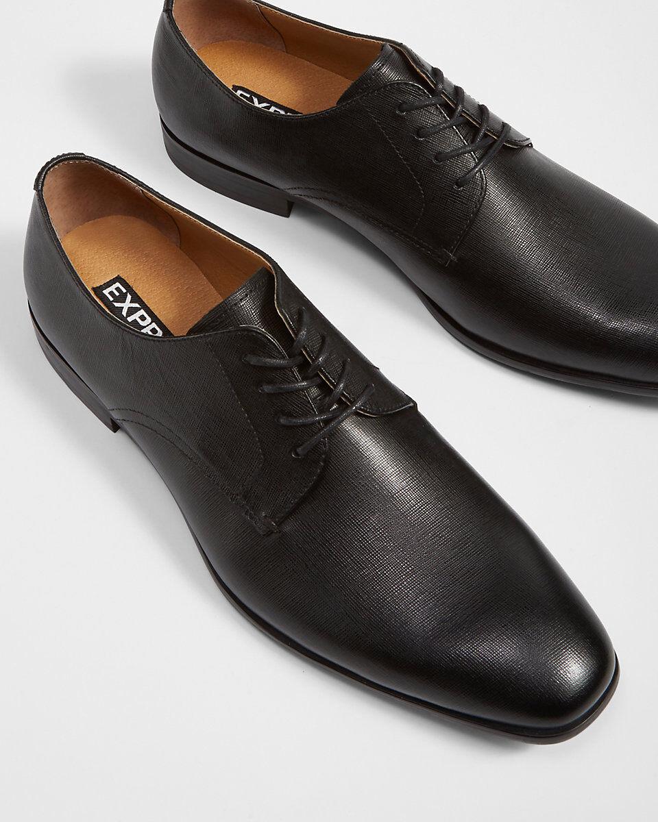 Express Saffiano Cuero Oxford Vestido Zapato-Negro-Tamaño (10) - Nueva