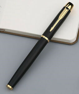 Parker-Metal-Pen-Matte-Black-Golden-Clip-IM-Series-0-5mm-Fine-Nib-Rollerball-Pen