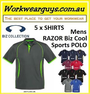 5 x Mens Polo Shirts  - RAZOR - Fashion, Casual, Work, Sports (BIZ COLLECTION)