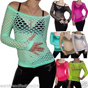 Sexy-Netz-Top-Erotik-Shirt-Tank-Neon-Netzshirt-Langarm-Gogo-36-40-Strip-Dance