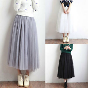 4e1ff285da Hot Women Casual Tulle Mesh Full Skirt Elastic High Waist 3 Layers ...
