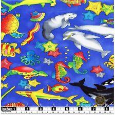Tessuto Per Bambini Pesce di mare polpo DELFINI Cavallucci Marini GRANCHI BALENE Fat Quarter