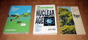 3-Books-GREENPEACE-NUCLEAR-BOMB-TESTS-ENERGY-LIVING-GUIDE-PAPER-ENVIRONMENTAL