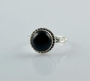 Black-Onyx-925-Sterling-Silver-Handmade-Midi-Ring-US-BON-014