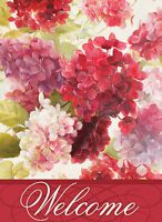 Pink Hydrangeas Welcome House Flag Flower Floral Red Decorative 28 X 40