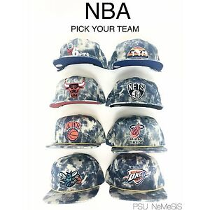huge discount 01efa 3460c Image is loading NBA-Acid-Wash-Denim-Snapback-Mitchell-amp-Ness-