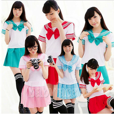 Japanese School Uniform Dress Cosplay Costume Anime Girl Lady Lolita Cute