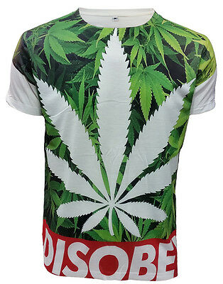 SUBLIMATION FRONT PRINT T-SHIRT//Cannabis Leaf//Swag Dope//Disobey Weed//Top