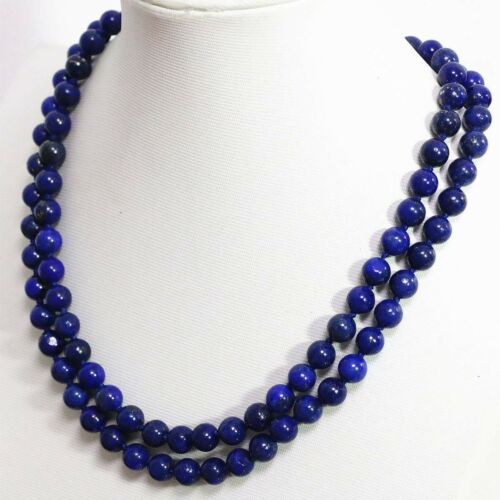 8mm-12mm natural Egyptian blue lapis lazuli round bead necklace 18-36/'/' PN748