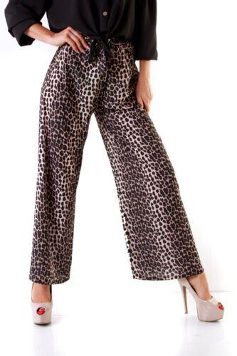 10064 Casual Damen Hose Weites Bein Weite Hose Gummizug Bindegürtel Leopard