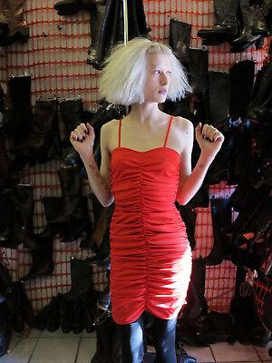 Jersey Abito Miniabito Vestito Spalline Stretch Rosso 80er True Vintage 80s Red Dress-mostra Il Titolo Originale