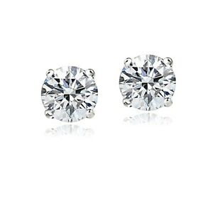 14K White Gold 1.5ct Cubic Zirconia Stud Earrings