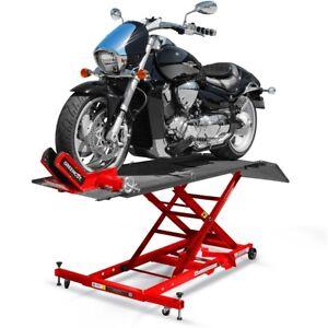 Elevador hidraulico de motos 450kg tipo tijera con rampa y ruedas –Greencut