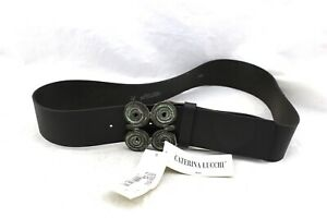 CATERINA-LUCCHI-Black-Leather-Boho-Modern-Bronze-Patina-Buckle-Belt-Italy-OS-NWT