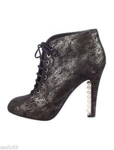 78975a012ecd CHANEL 13A Black Silver Suede Lace Up Pearl Heel Ankle Booties Boots ...