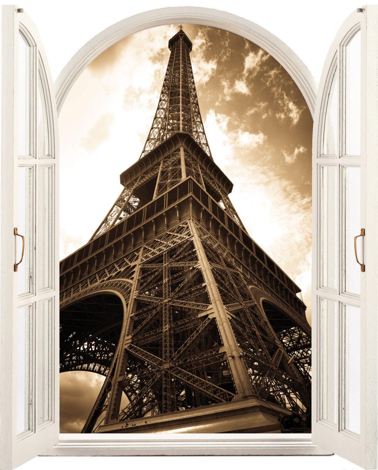 Aufkleber Fenster Schein Auge Eiffelturm 81x100cm 099