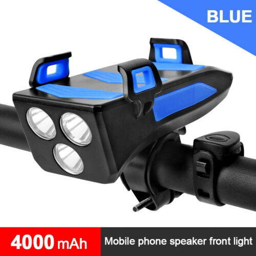 2000//4000mAh Power Bank 4 In 1 Bike Bicycle LED Front Light Bell Phone Holder
