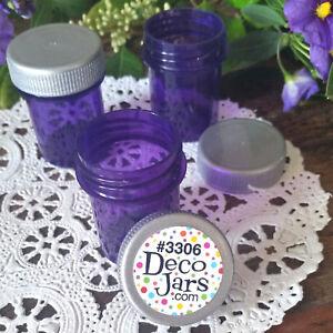 24-Tiny-Drug-Travel-Pill-Bottle-Purse-Size-Jar-PURPLE-Container-SILVER-CAP-Lid
