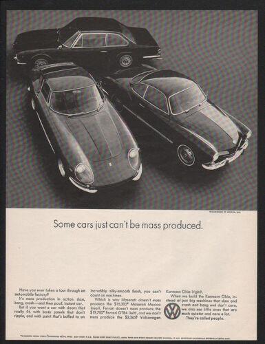 FERRARI 1969 VOLKSWAGEN KARMANN GHIA Sports Car MASARATI VINTAGE AD