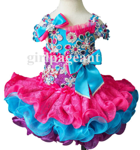 Infant//toddler//baby glitz Pageant//formal  Dress G270-1 with hairbow