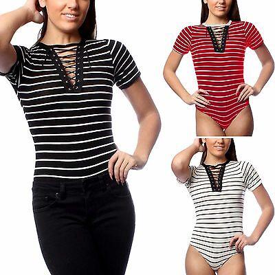 New Ladies Lace Up Neck Striped Bodysuit Womens Leotard Top Bodycon T-shirt Tops Gesundheit Effektiv StäRken