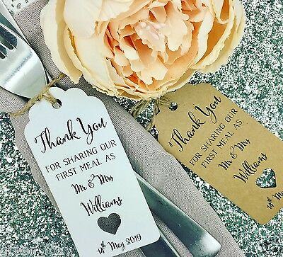 "First Meal Wedding Favour Gift Tag /""Thank you/"" Label Kraft// Napkin Ring"
