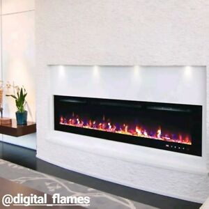 50 Inch Led Digital Flames White Black Glass Wall Mounted