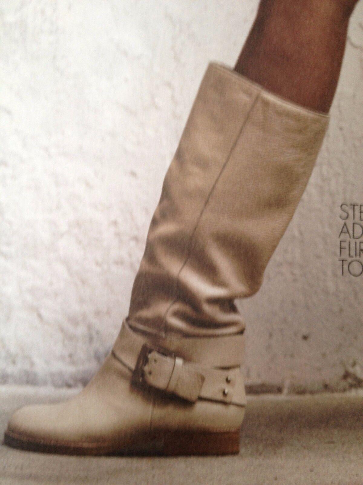 Chloe Erin Prince Cuero Hebilla Knee Knee Knee High Tall Montar botas Planas neutral  1225  tomamos a los clientes como nuestro dios