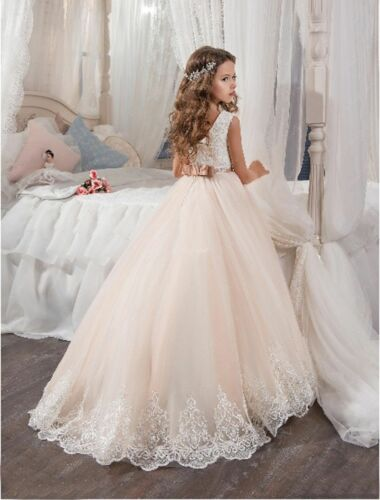 Kids Girls Party Prom Event Princess Occasion Wedding Flower Dress Dropped Gown