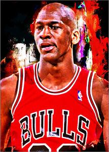 2021 Michael Jordan Bulls 24/25 Art ACEO Red Sketch Print Card By:Q