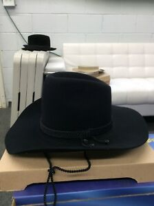 Image is loading TONAK-SELENTINO-COWBOY-HAT-100-FUR-FELT-BLACK- 2f5978a0b035