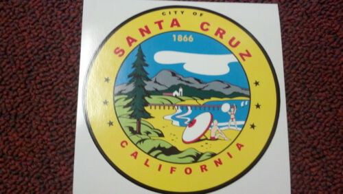 "CITY OF CALIFORNIA VERY COLORFUL STICKER VERY COOL SANTA CRUZ 4/"" 1866"
