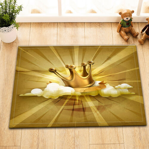 """72/"""" Waterproof Fabric Golden Crown Shower Curtain Liner Bathroom Mat Set Hooks"""
