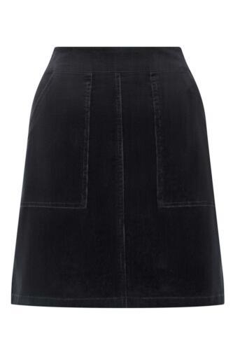ex Warehouse Womens Black Needle Cord Short A Line Skirt