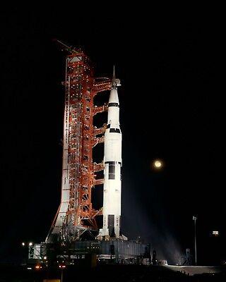 EP-165 8X10 NASA PHOTO APOLLO 17 SATURN V AT LAUNCH PAD 39A UNDER FULL MOON