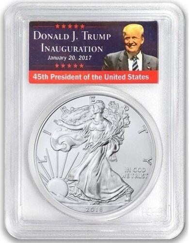 W $1 Silver Eagle PCGS MS70 FIRST STRIKE West Point Trump Label Low Pop 2018-
