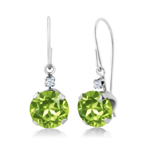 1.83 Ct Round Green Peridot 14K White Gold Earrings